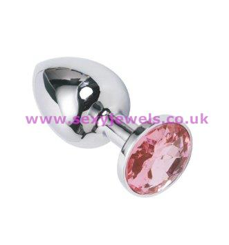 Stainless Steel Jeweled Butt Plug - Size Small