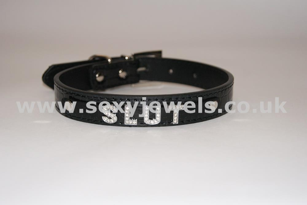 Black Fetish `SLUT` Collar For Pet / Slave