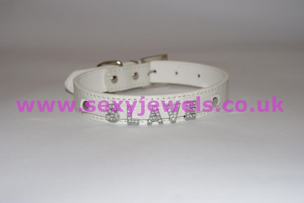 White Fetish `SLAVE` Collar For Pet / Slave