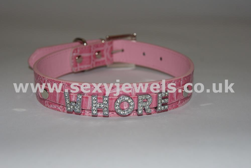 Pink Fetish `WHORE` Collar For Pet / Slave