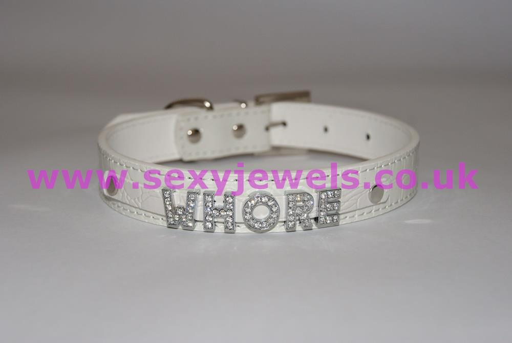 White Fetish `WHORE` Collar For Pet / Slave
