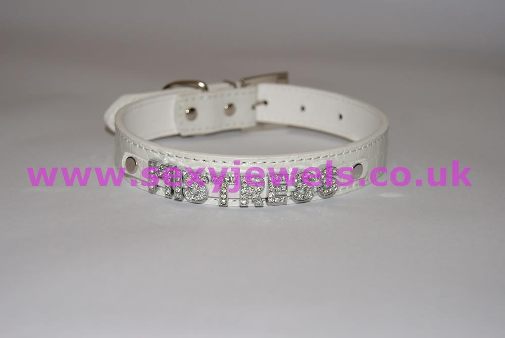 White Fetish `MISTRESS` Collar For Pet / Slave