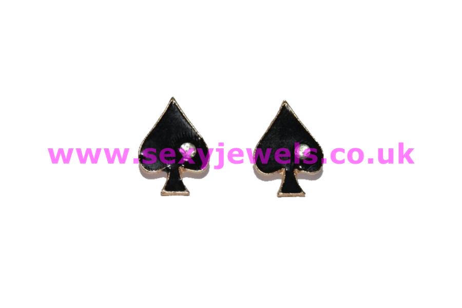 Queen Of Spade Earrings - Style 5 BBC Cuck Sissy Hotwife