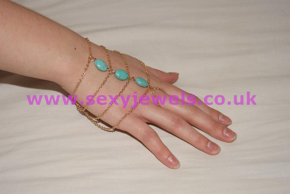 Gold Colour Hand Jewellry Thong with Turquoise Beads
