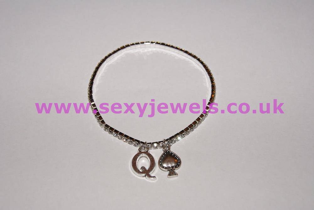 1 Row Diamante / Rhinestone Queen Of Spades Anklet