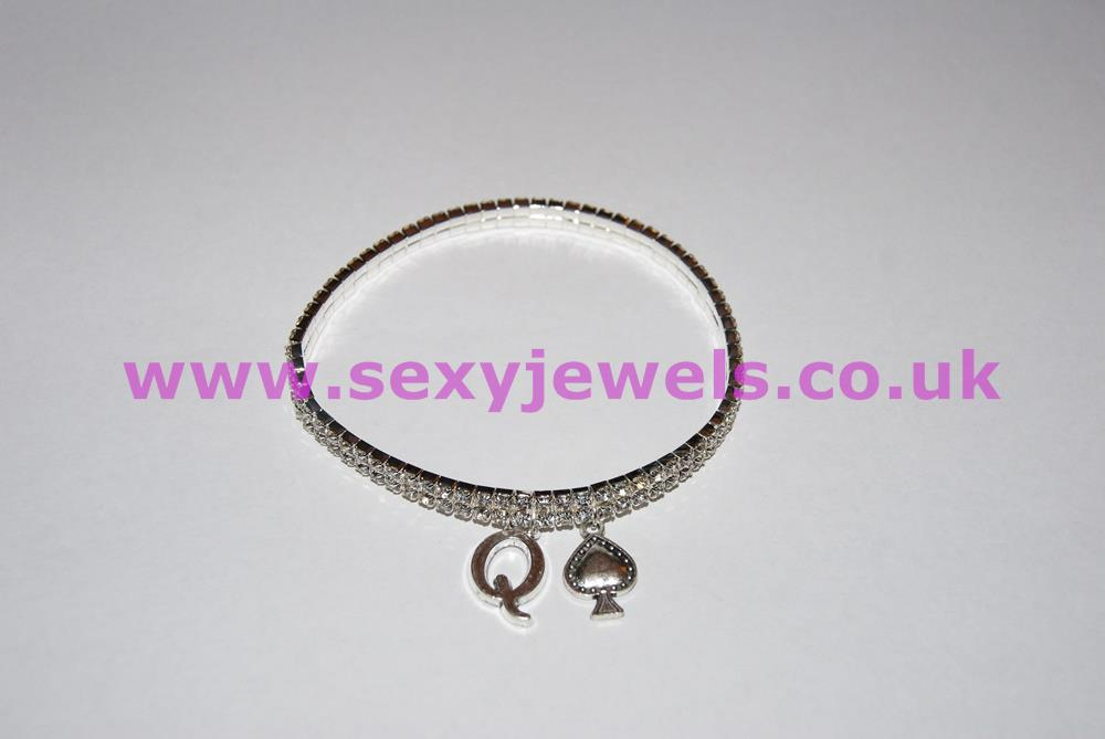 2 Row Diamante / Rhinestone Queen Of Spades Anklet