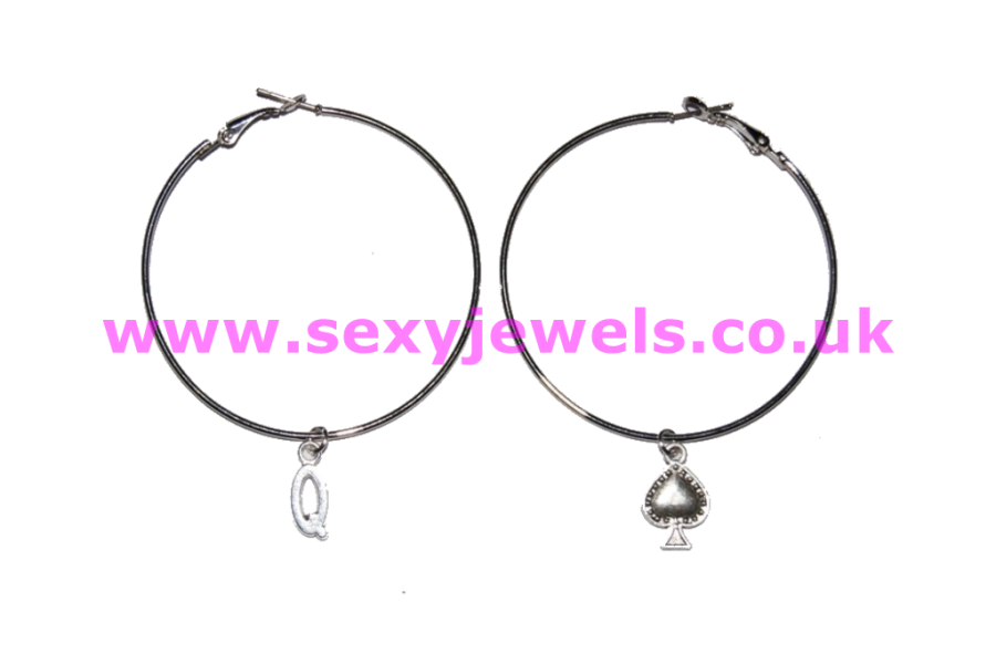 Pair of Hoop Ear-rings with Queen Of Spade Charms White Wife for BBC