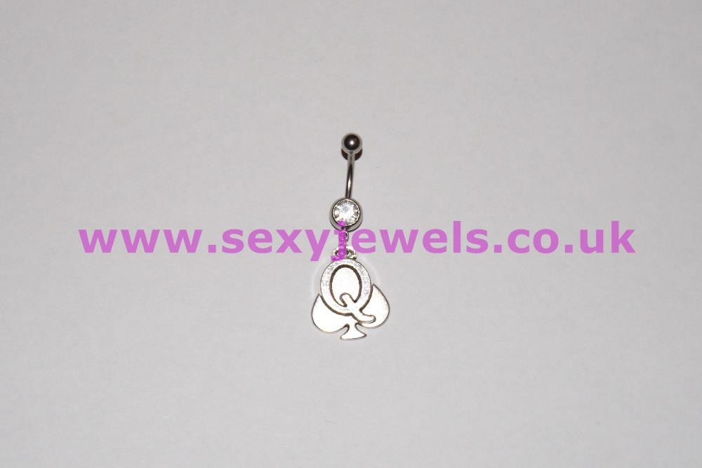 Naval Belly Button Bar Piercing - Queen Of Spade Style 1