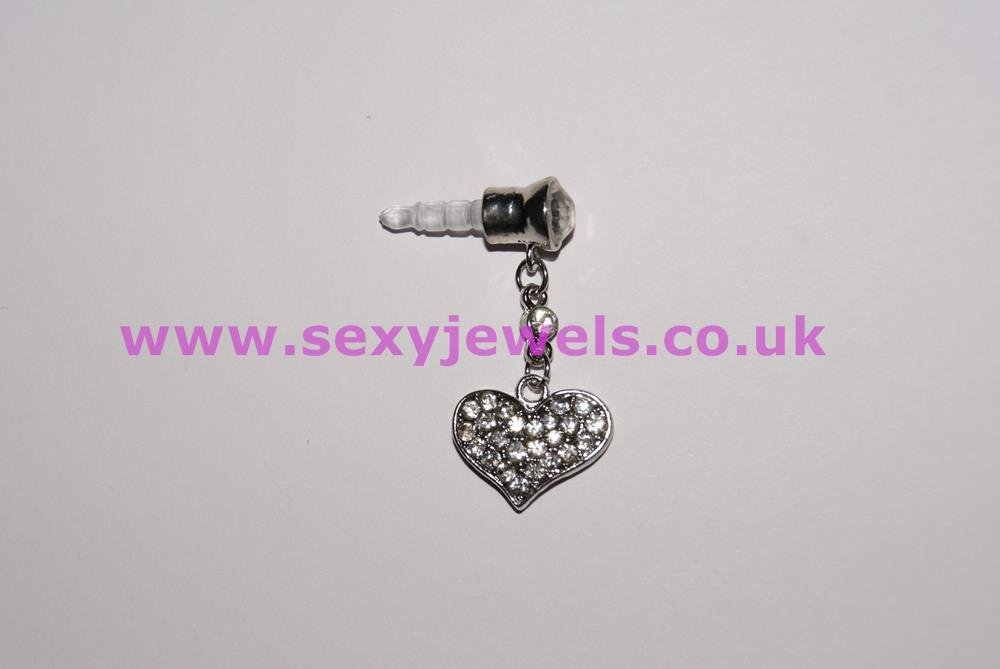 Headphone Earphone Speaker Jack Dust Plug Crystal Love Heart