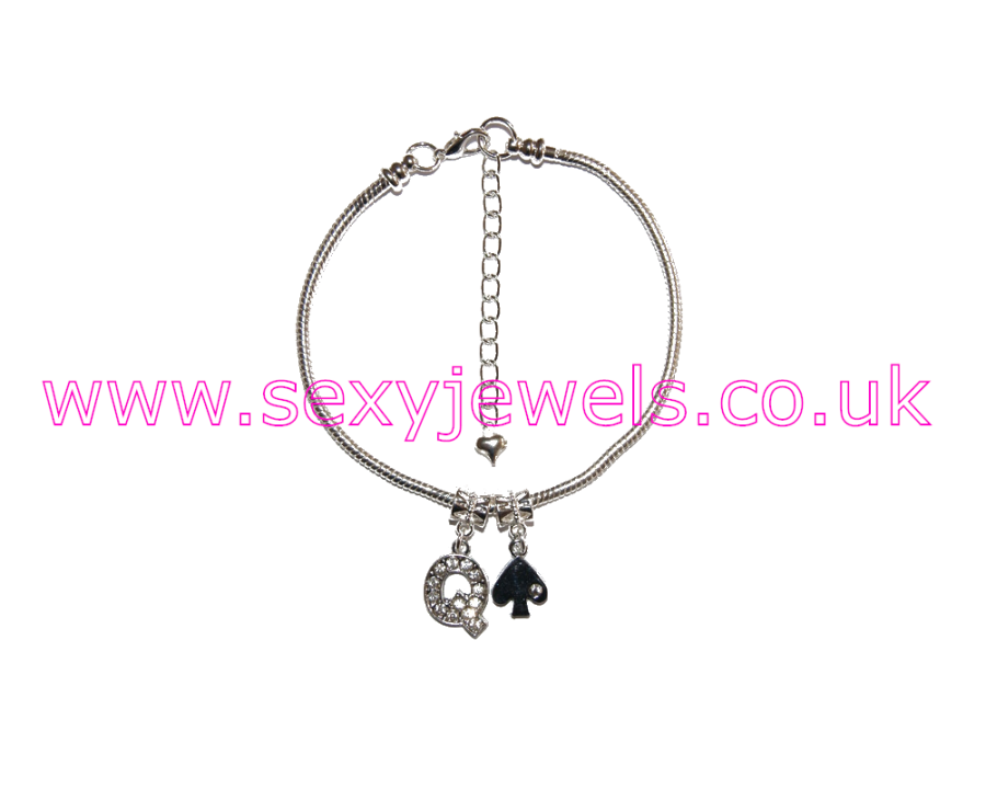 Euro Anklet / Ankle Chain Queen Of Spades QOS Style 2