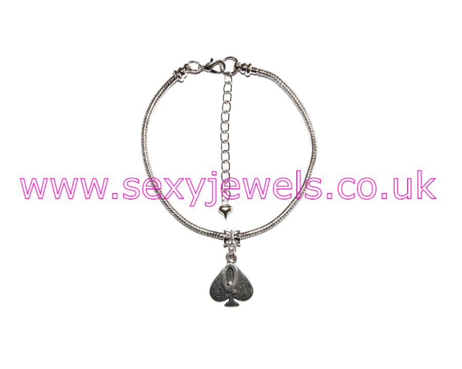 Euro Anklet / Ankle Chain Queen Of Spades QOS Style 3