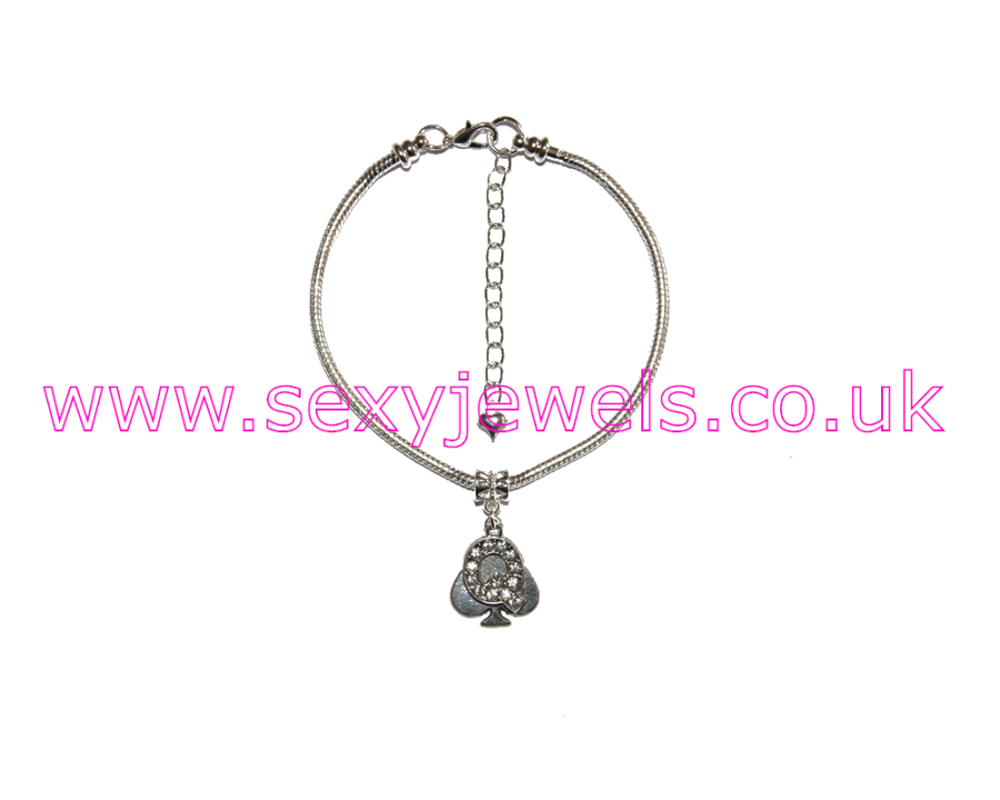 Euro Anklet / Ankle Chain Queen Of Spades QOS Style 4