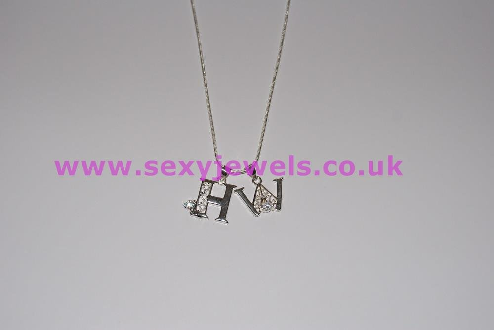 Euro Necklace `HW` Hotwife Diamante Charms