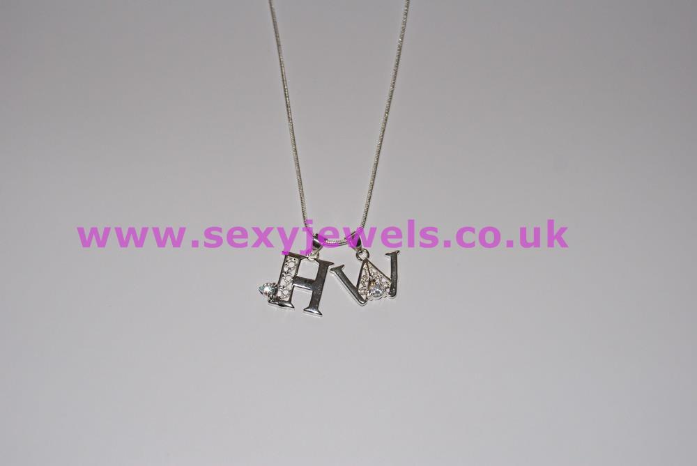 Euro Necklace `HW` Hotwife Diamante Charms