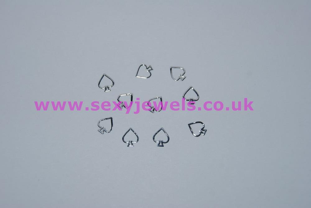 Silver Colour Spade Nail Art Foils Queen Of Spades Hotwife