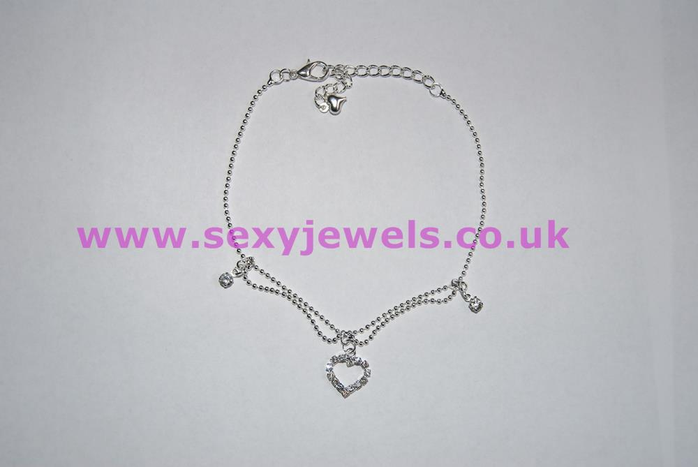Heart Crystal Diamante Style Anklet / Ankle Chain for Sexy Hotwife
