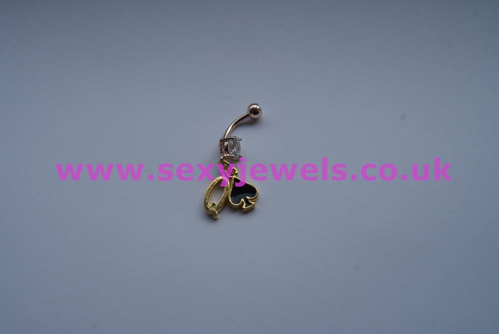 Naval Belly Button Bar Gold Plated Piercing - Queen Of Spades Style 1
