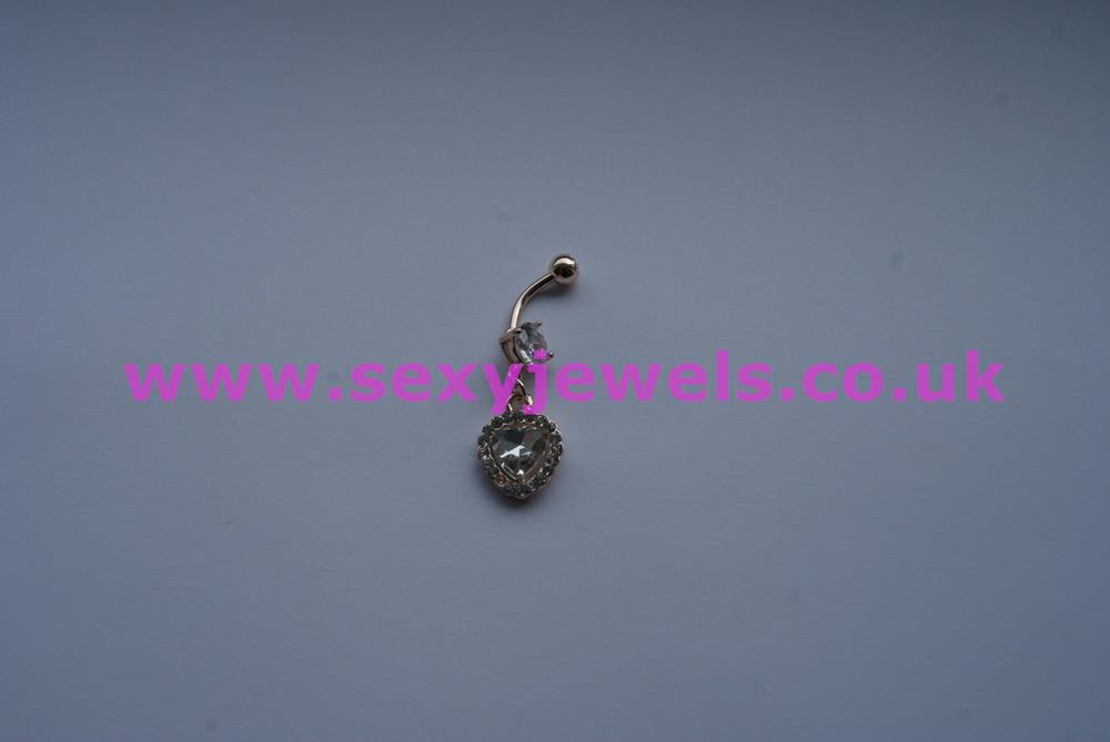 Naval Belly Button Bar Rose Gold Plated Piercing - Crystal Heart
