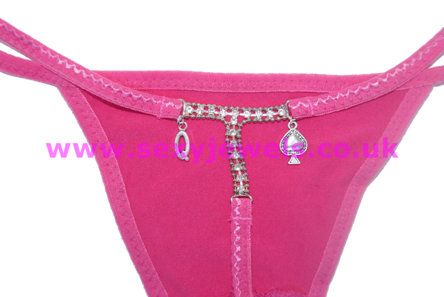 Queen Of Spades Hot Pink Diamante Ladies Thong For Hotwife - UK Size 8 - 12
