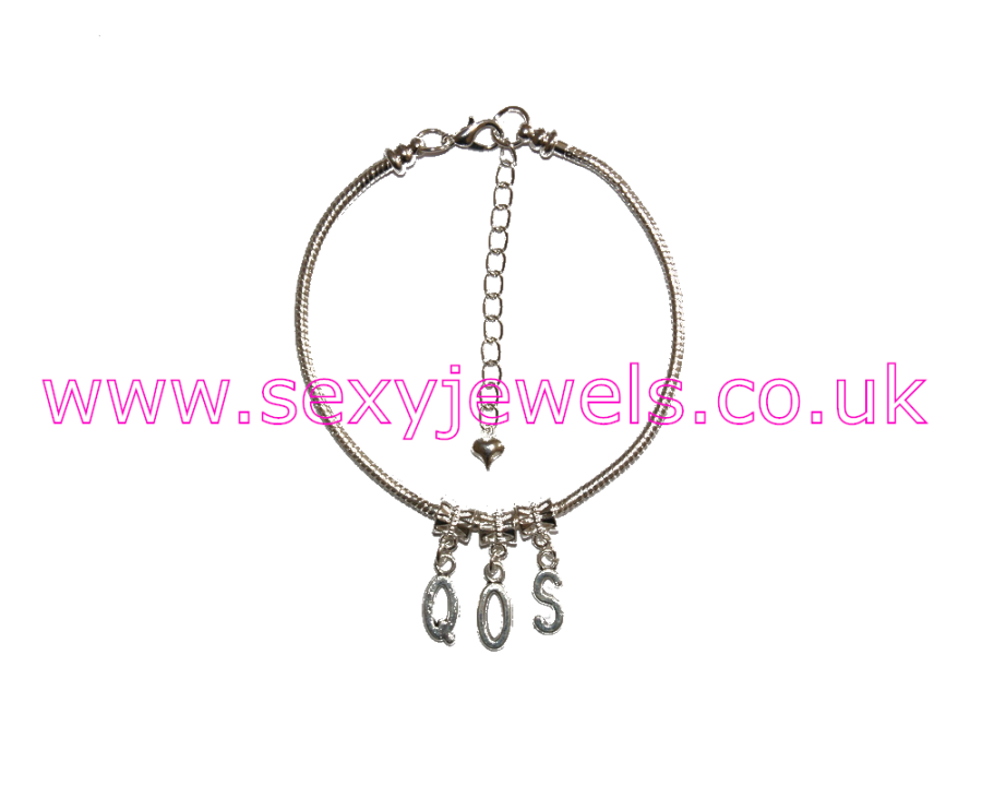 Euro Anklet / Ankle Chain `QOS` Letters