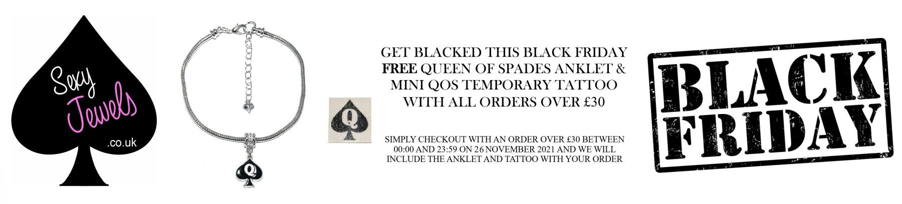 BLACK FRIDAY 2019 - www.sexyjewels.co.uk - Hotwife Anklets, Queen Of Spade Tattoos