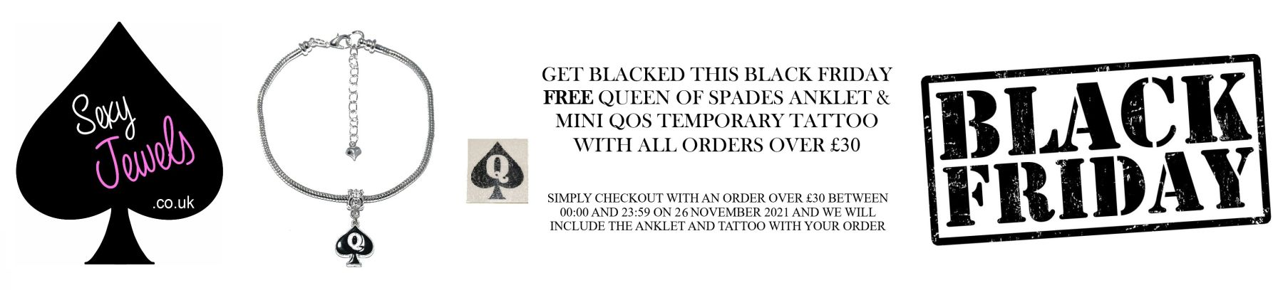 BLACK FRIDAY - Help your wife find a black boyfriend with this FREE Queen Of Spade anklet and tattoo