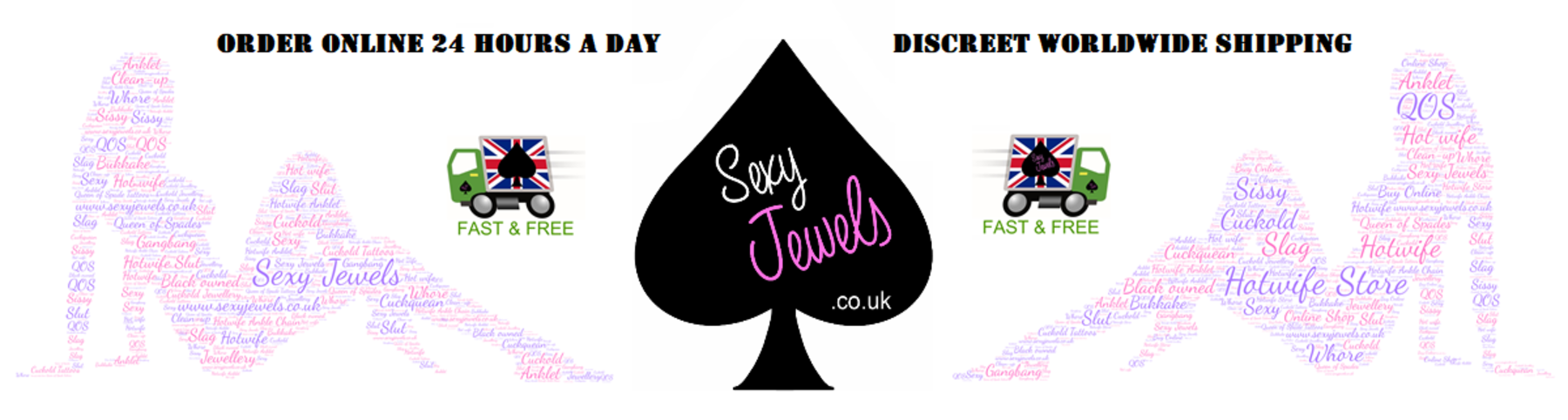 Hotwife Jewellery, Cuckold Temporary Tattoos, Queen Of Spade Anklet, Online Hotwife Store - www.sexyjewels.co.uk