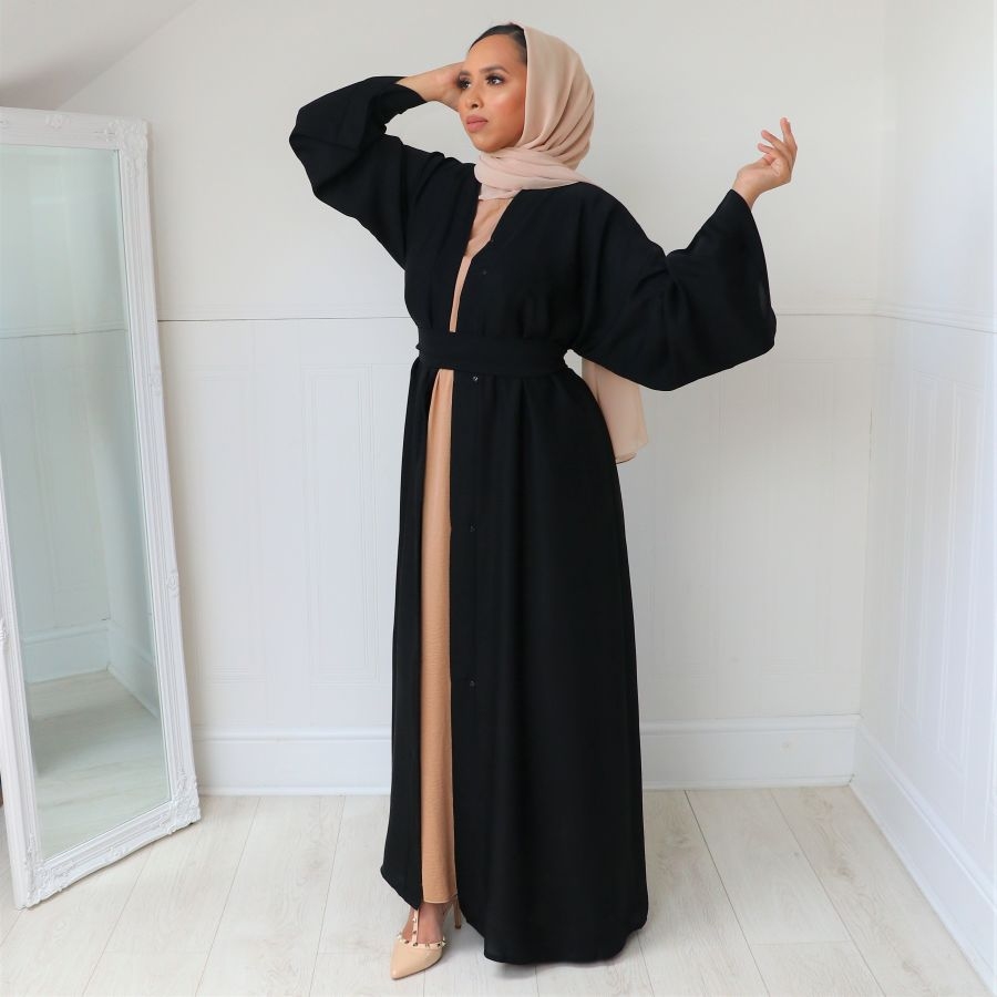 Aisha Open Abaya Black