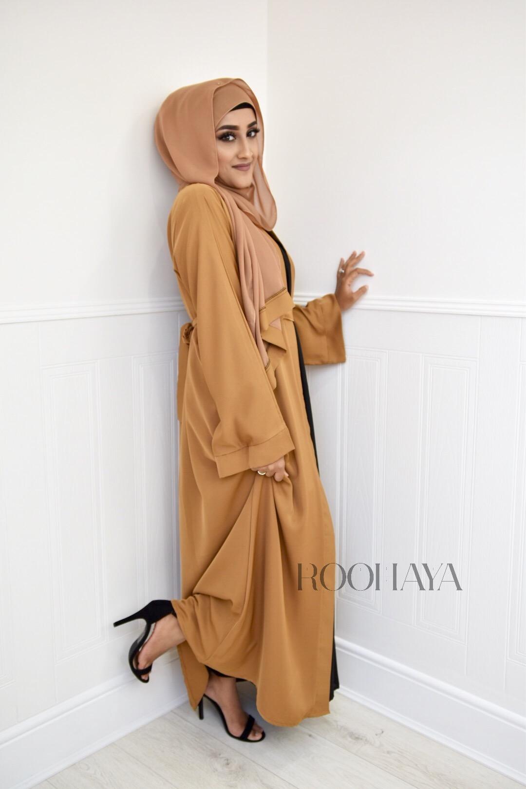Aisha Open Abaya Camel Tan