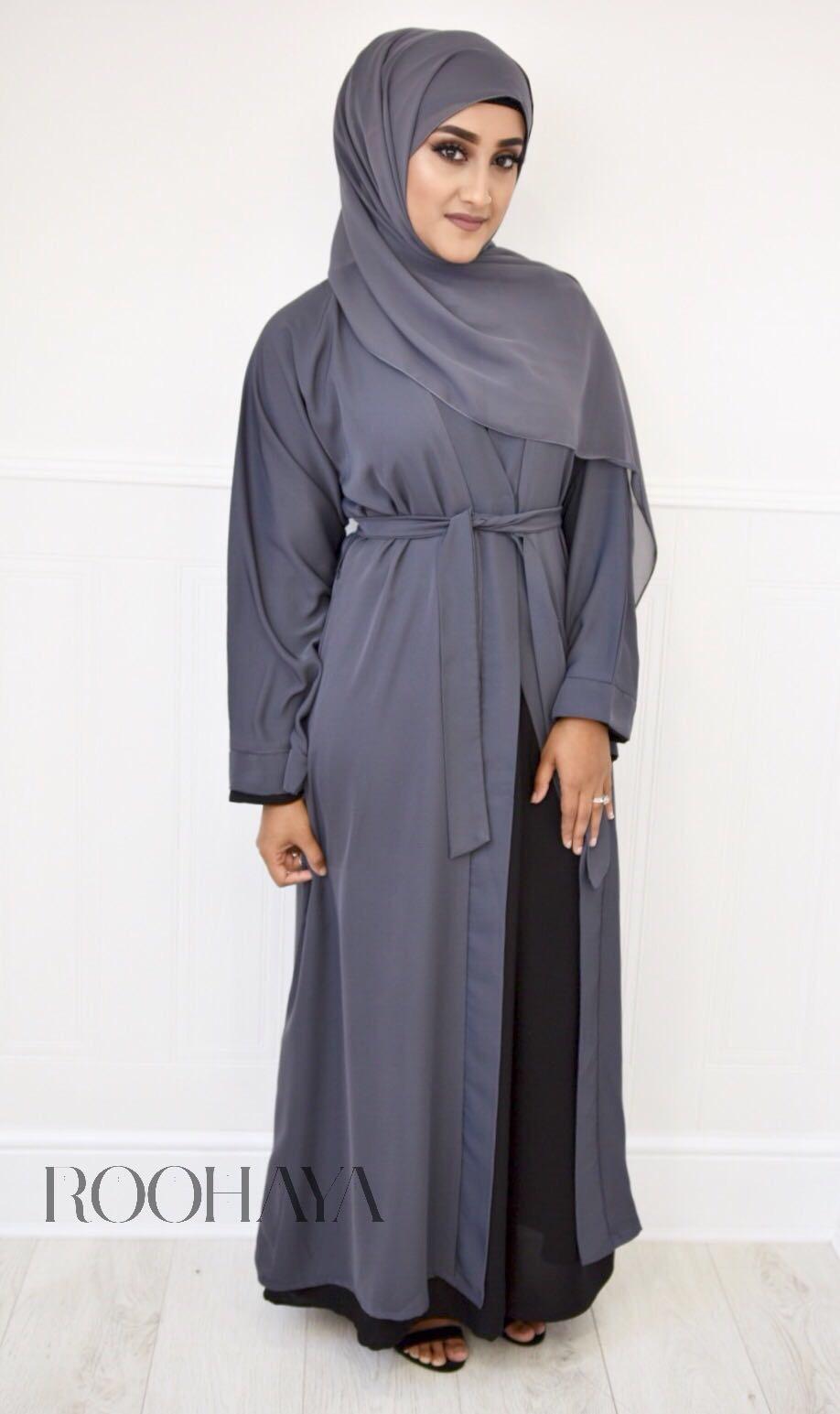 Aisha Open Abaya Dark Grey