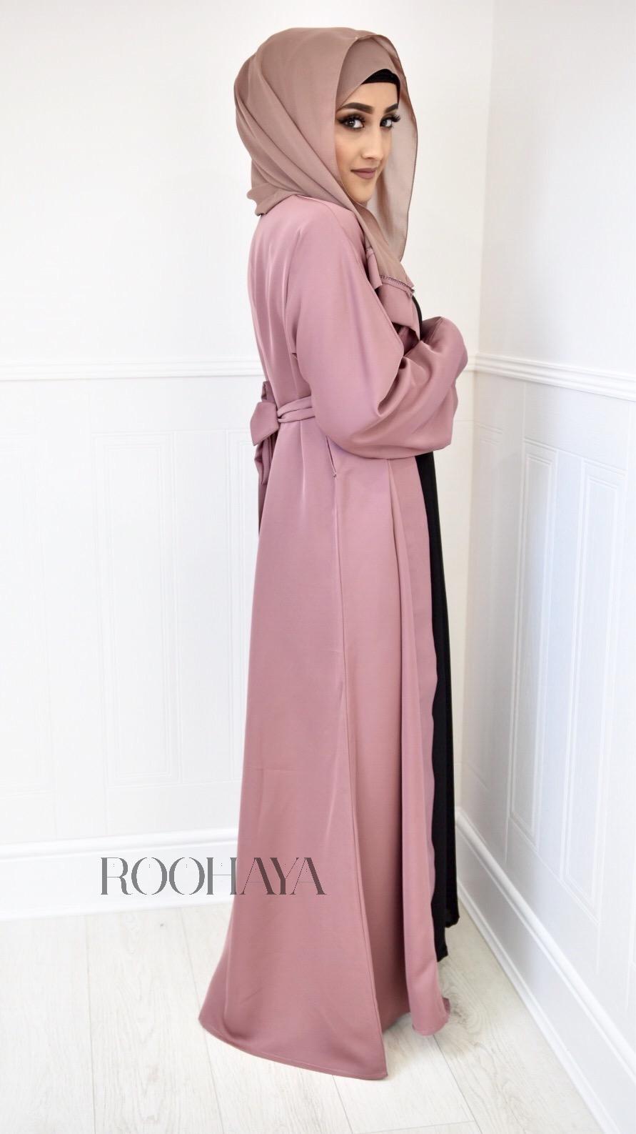Aisha Open Abaya Dusky Pink