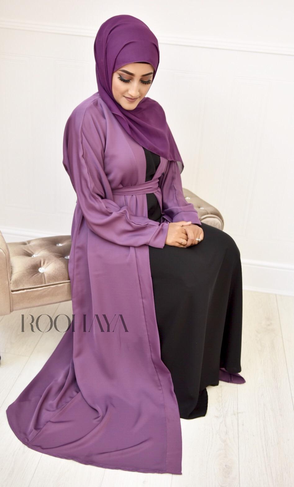 Aisha Open Abaya Dusky Plum