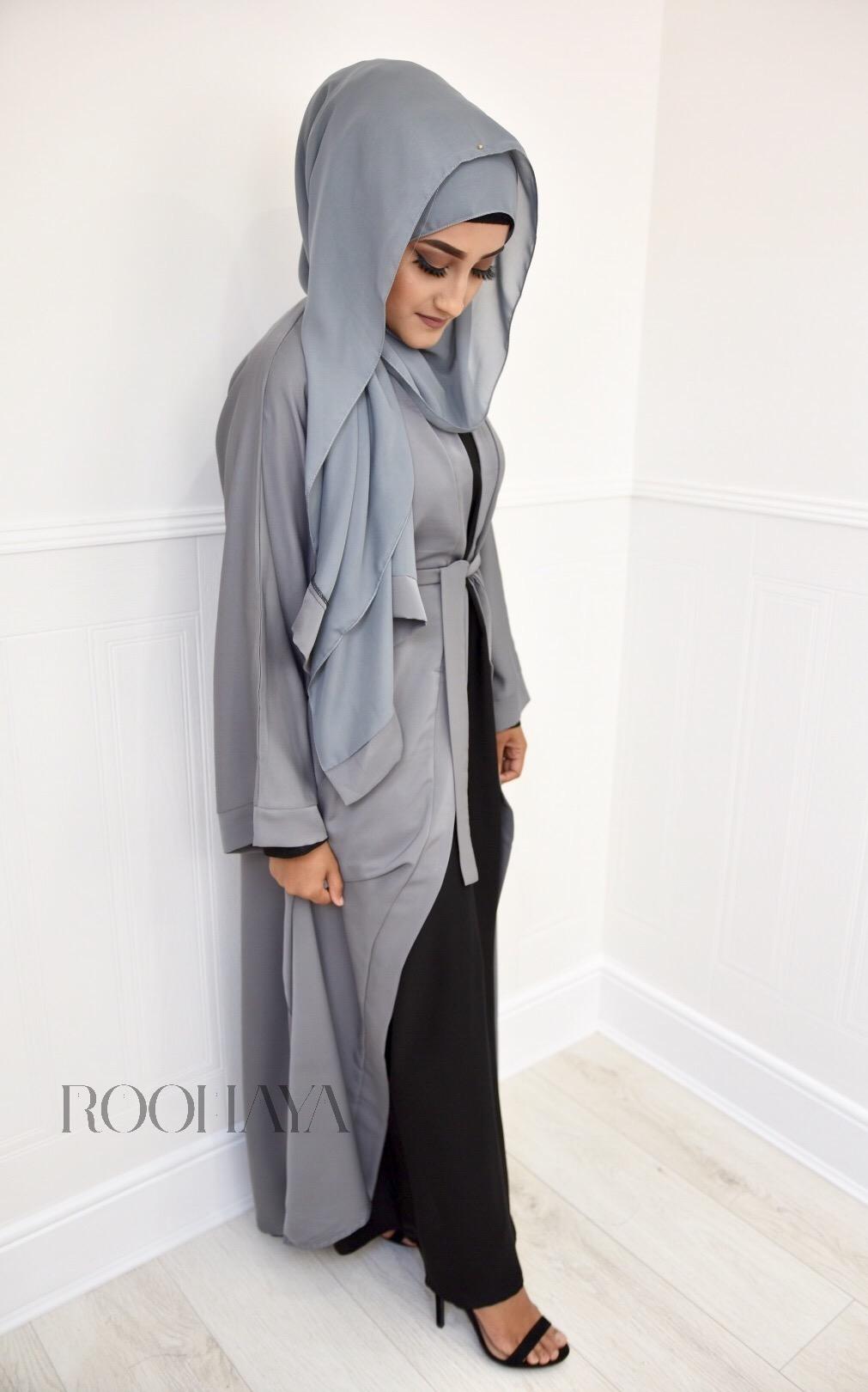 Aisha Open Abaya Light Grey
