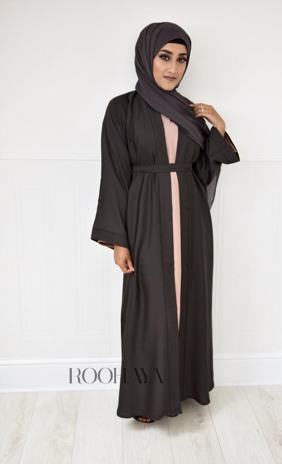 Aisha Open Abaya Charcoal Brown