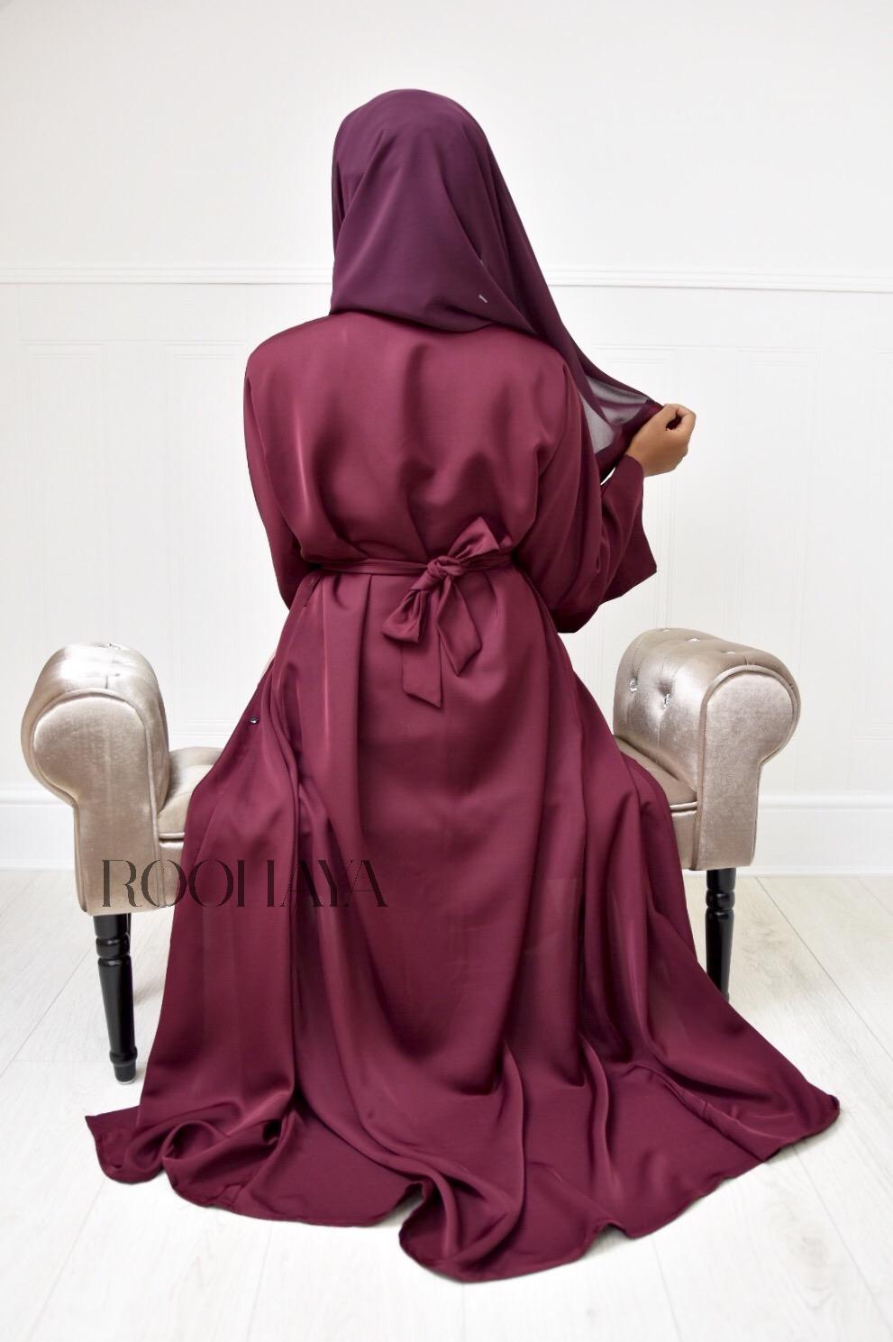 Aisha Open Abaya Maroon