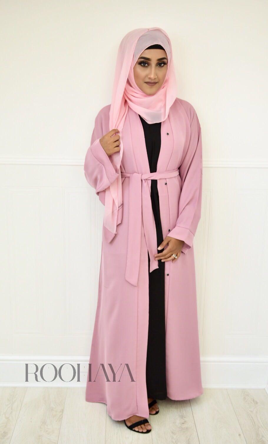 Aisha Open Abaya Pink