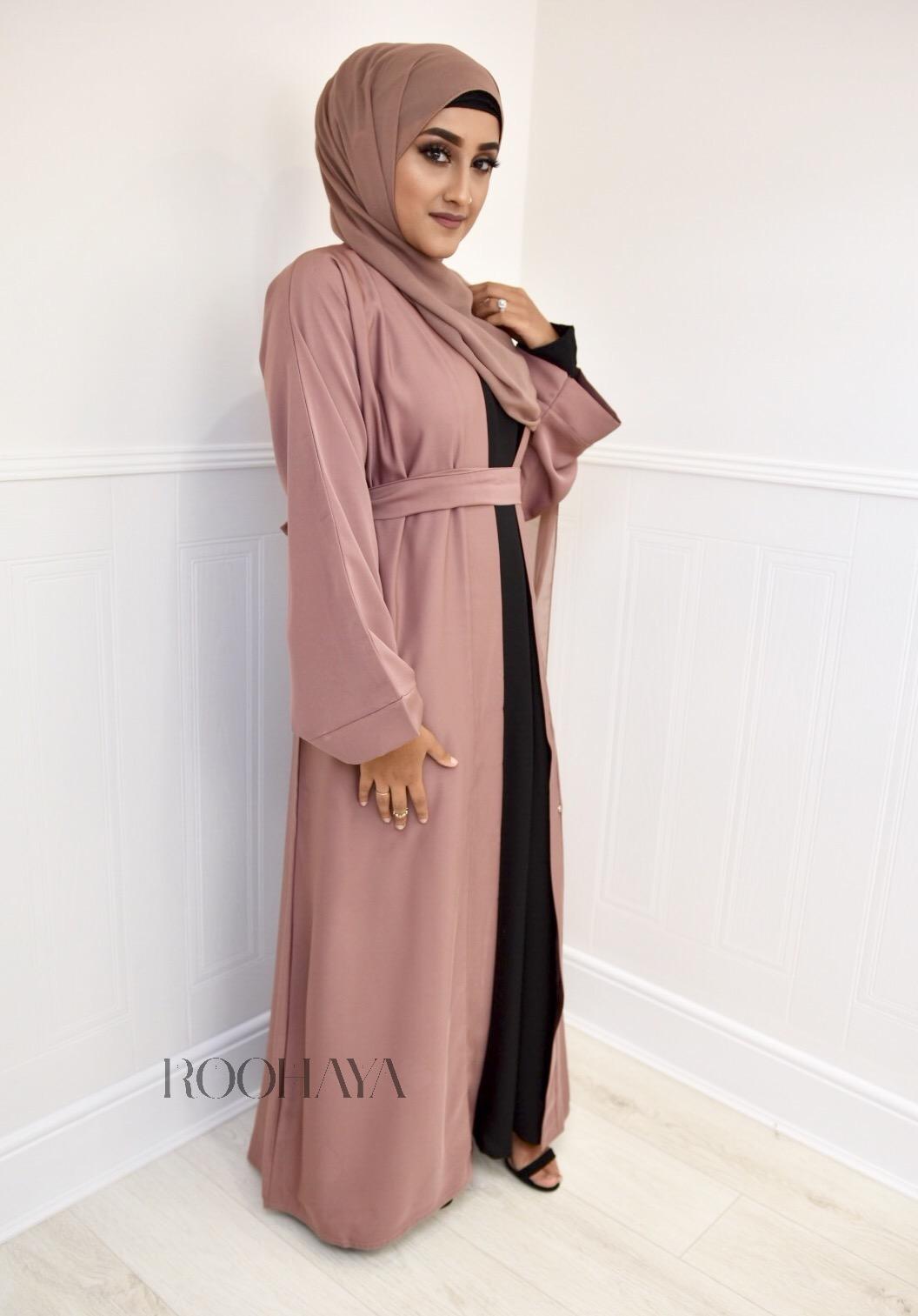 Aisha Open Abaya Tan Pink