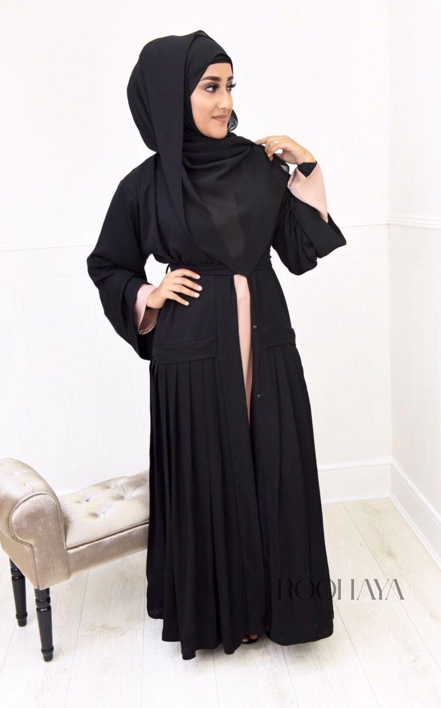 Asma pleated Open Abaya Black
