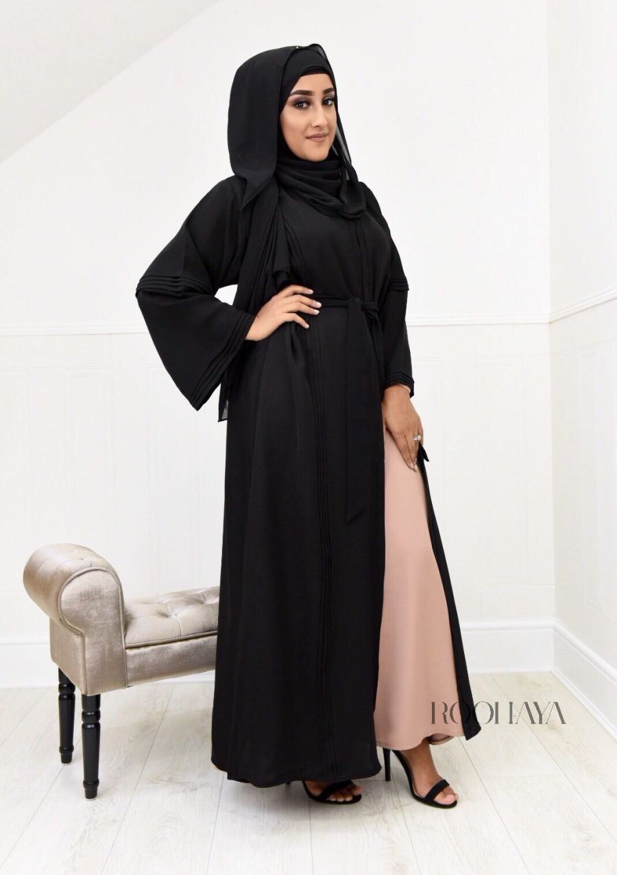 Ayzah pintuck Open Abaya in Black