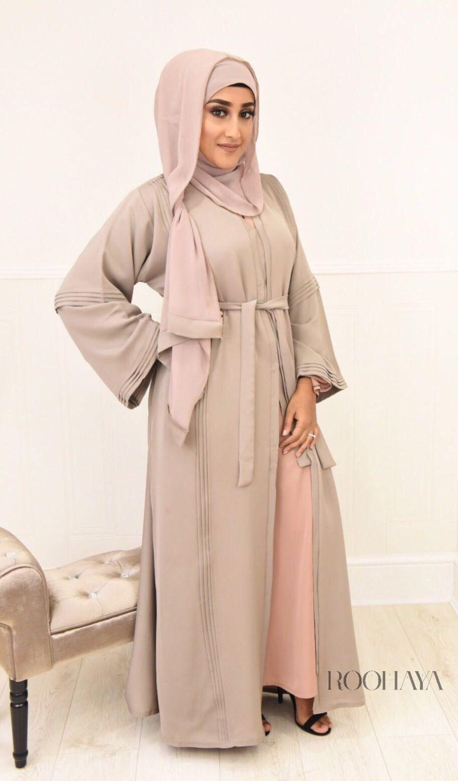 Ayzah pintuck Open Abaya in Putty Beige