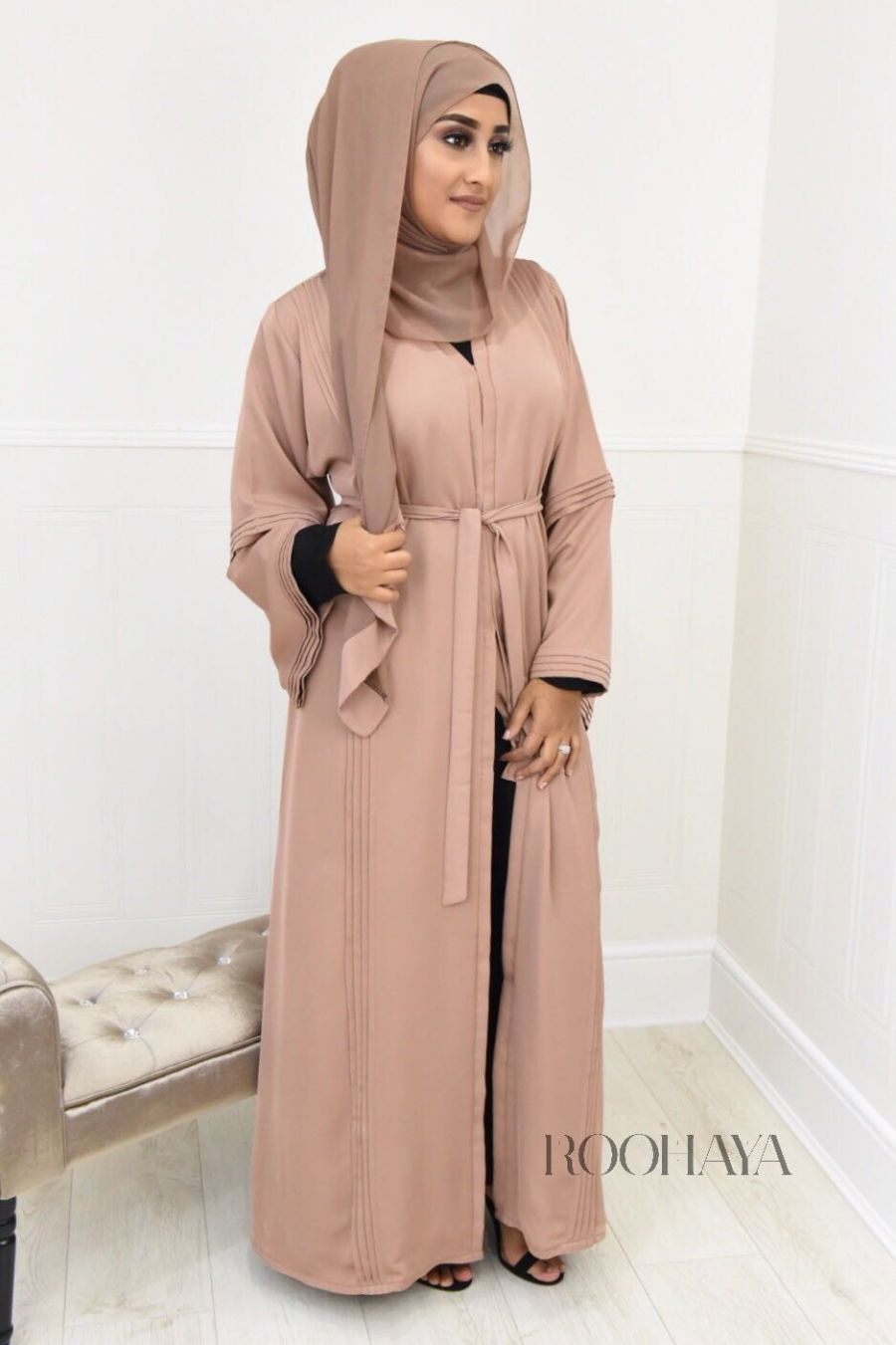 Ayzah pintuck Open Abaya in Warm Beige