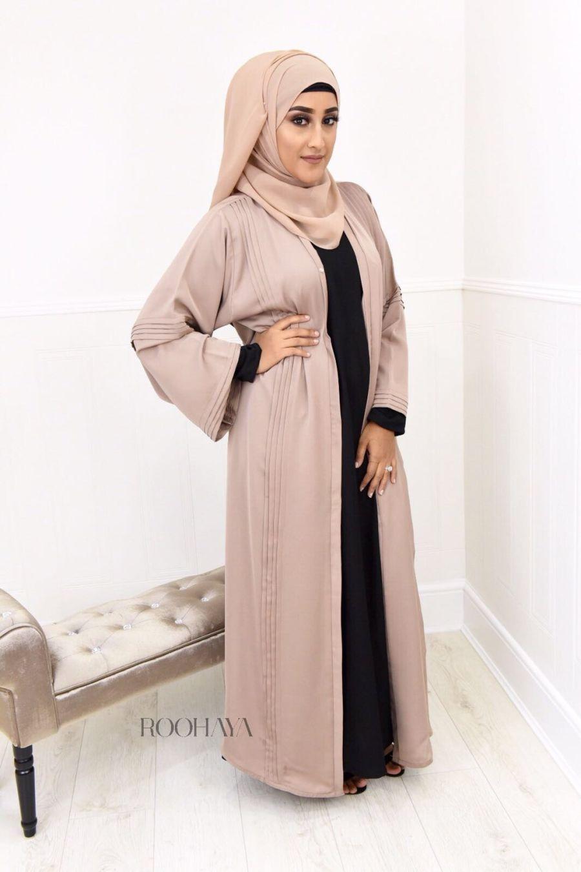 Ayzah pintuck Open Abaya in Dove Grey