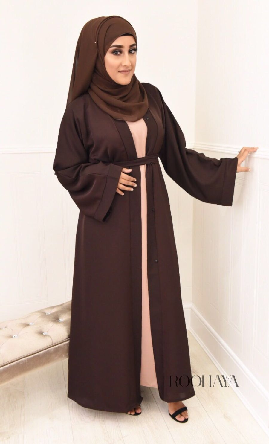 Aisha Open Abaya Dark Brown