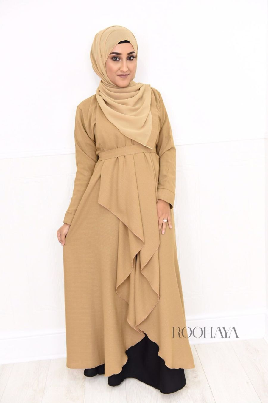 Eve waterfall Open Abaya Camel