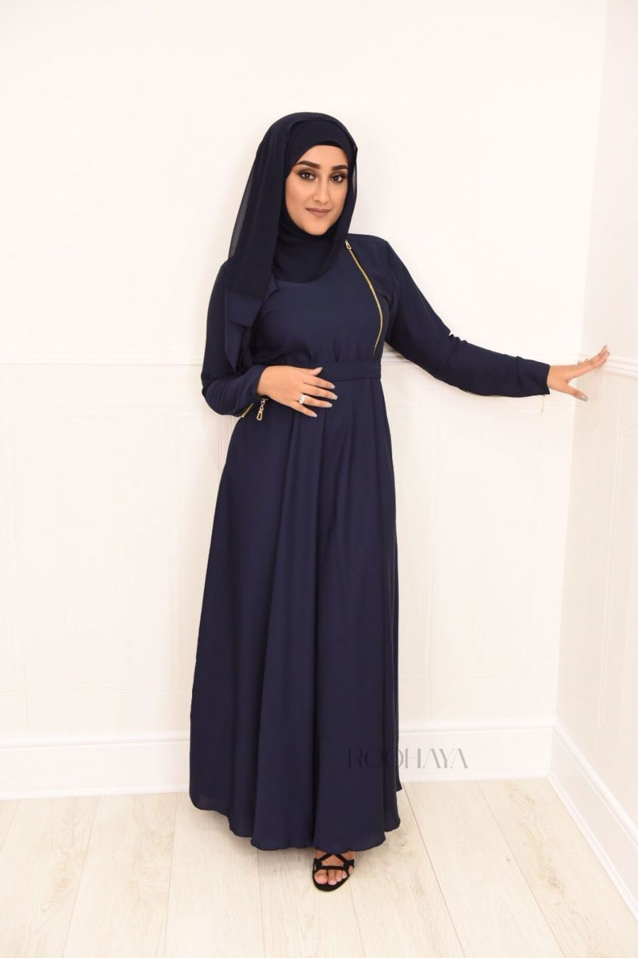 Habiba Zip flare in Navy