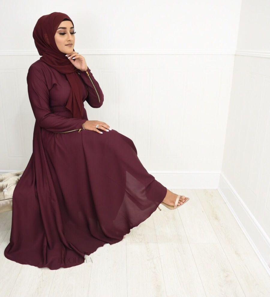 Habiba Zip flare in Maroon