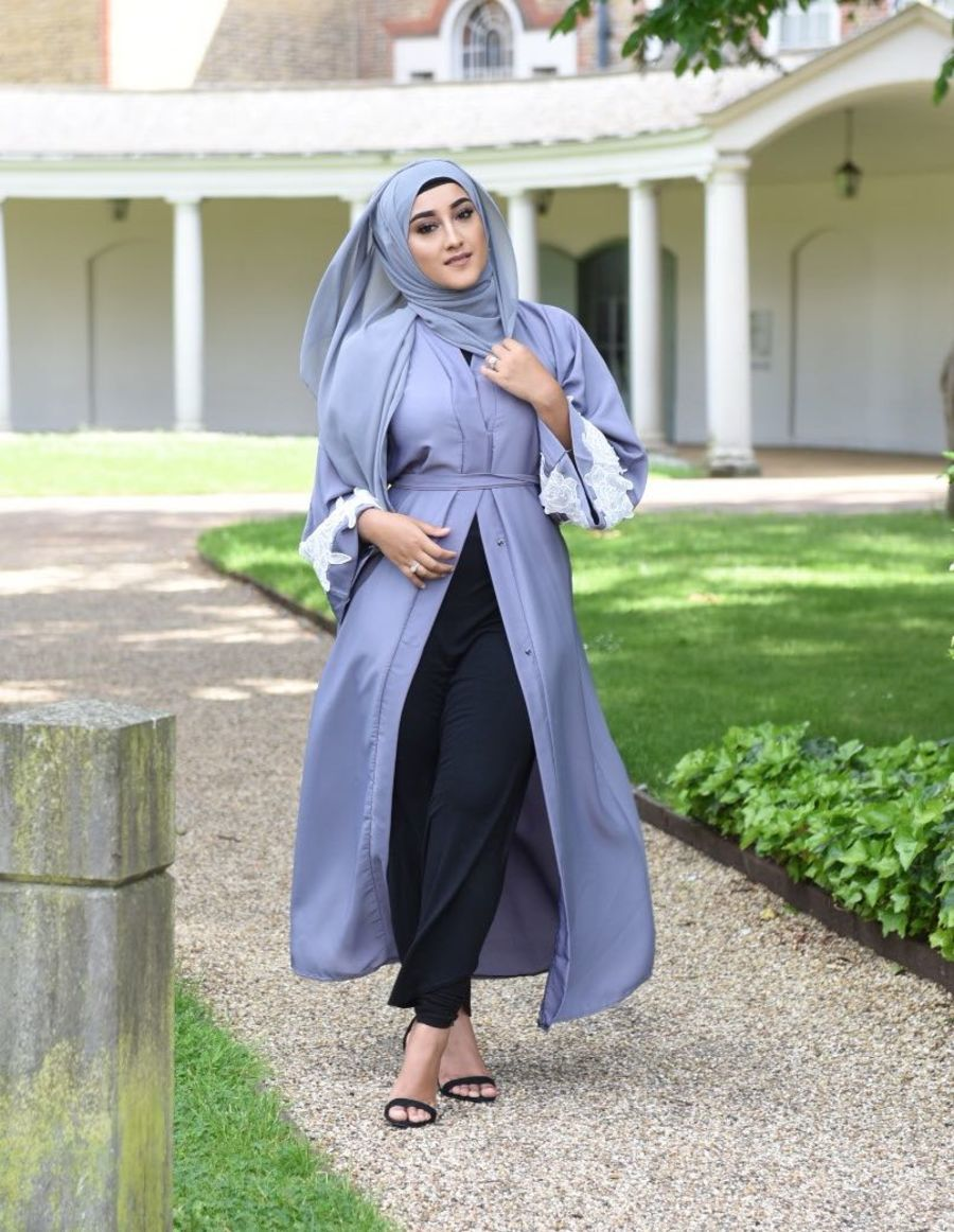 Fiza Rose Mesh Lace in Grey