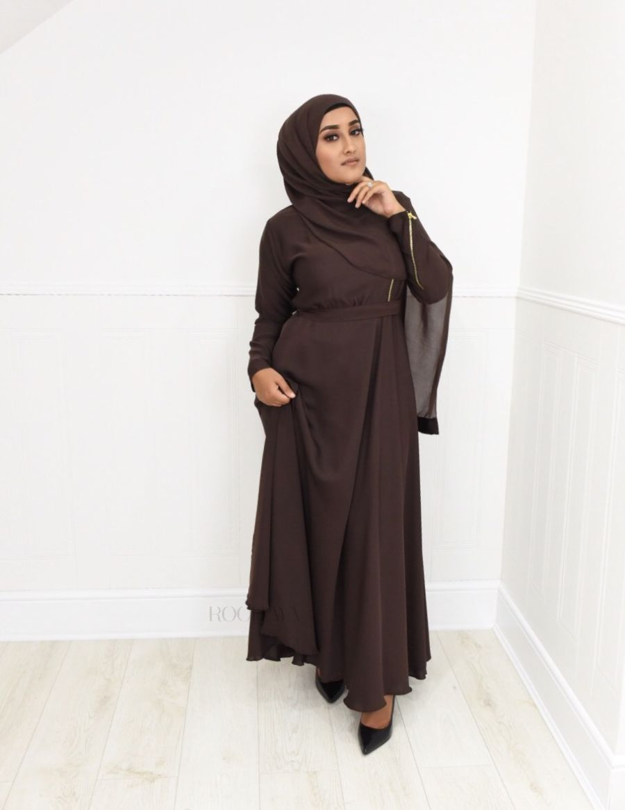 Habiba Zip flare in Dark Brown