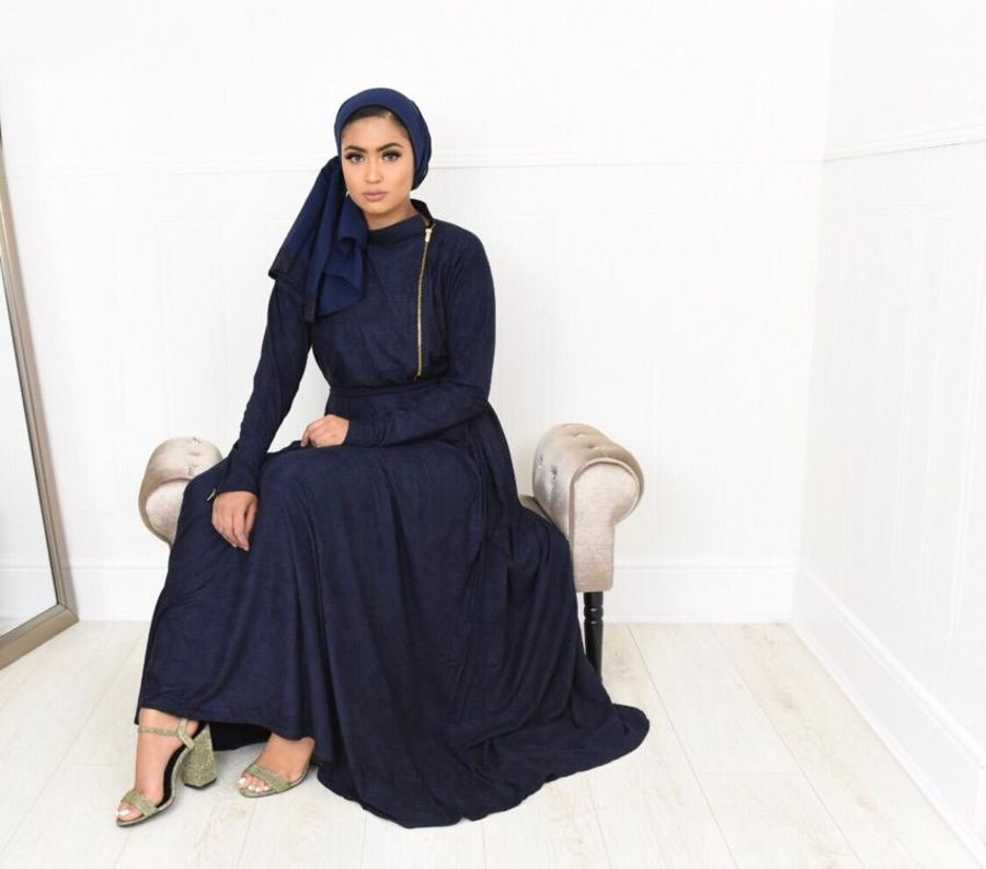 Habiba Zip flare in Navy Suede