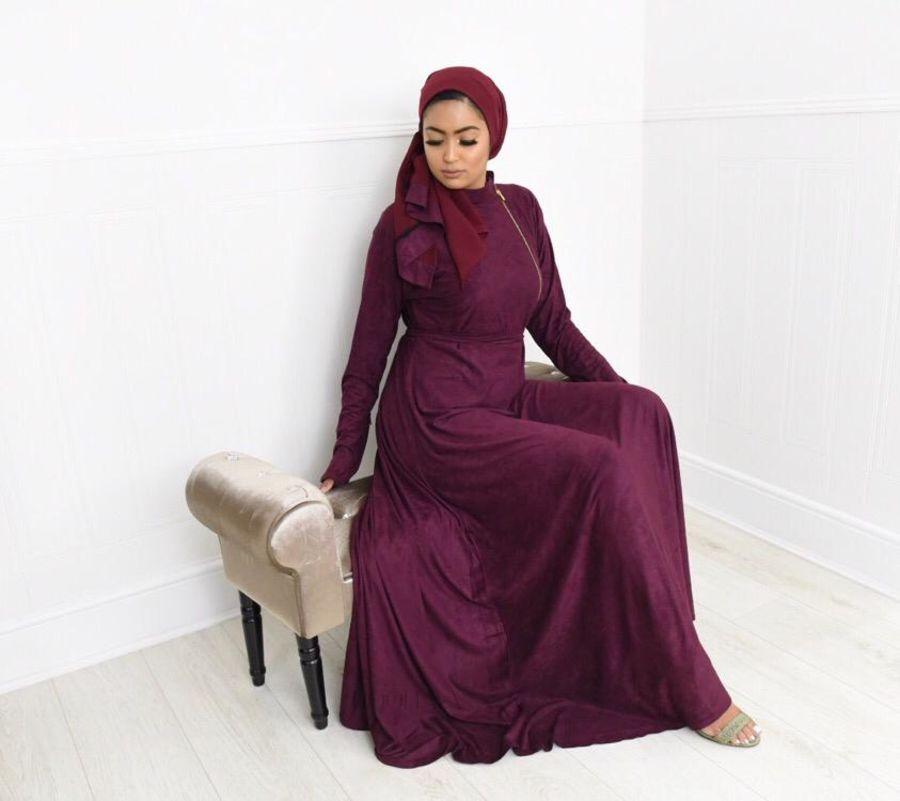 Habiba Zip flare in Maroon Suede